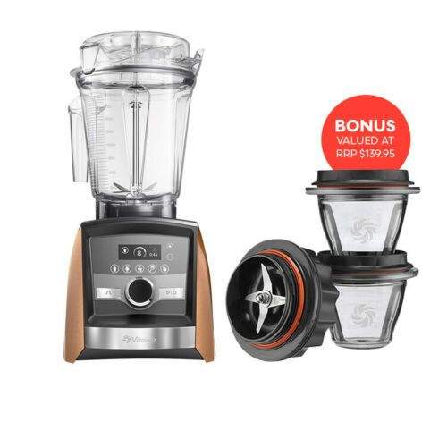 Vitamix Ascent Series A3500i Blender In Limited Edition Copper Plus receive the Blending Bowel Statrer Kit as Free Gift valued at $139.95 Sleek design meets revolutionary smart technology Meet the new Ascent(TM), Series blenders from the brand trusted by chefs. Combining sleek design with power and precision, Vitamix introduces the first high-performance blenders with wireless connectivity built to make flavour-filled recipes for now and for years to come. Revolutionary smart technology With Bluetooth(R), connectivity and new SELF-DETECT(TM), technology, your blender is ready to connect and evolve, while interlock technology prevents the machine from operating if the lid or container is not secure. Worry-free for 10 Years Our full warranties cover parts, performance, and return shipping both ways, for the next decade. Since fewer than 1% of Vitamix products in the U.S. currently under warranty have been returned to us for service, it's the best warranty you'll probably never need. Product Video Features Five program settings (for Smoothies, Hot Soups, Dips & Spreads, Frozen Desserts and Self-Cleaning) automatically and process your recipes, and stop the blender when complete. Built-in wireless connectivity will allow Ascent(TM), Series blenders to evolve with the latest innovations for years to come. Program Settings Five program settings ensure walk-away convenience and consistent results. Touch Interface Touchscreen controls give the machine a sleek silhouette and are easily wiped clean. You're In Control Variable Speed Control and Pulse feature let you fine-tune the texture of any recipe. SELF-DETECT(TM), Technology Wireless connectivity will allow your blender to evolve, while interlock technology prevents the machine from operating if the lid or container is not secure. Programmable Timer A built-in timer helps avoid over- or under-processing your custom recipes. Set the timer to the length of your blend, and it will turn the machine off automatically. What com
